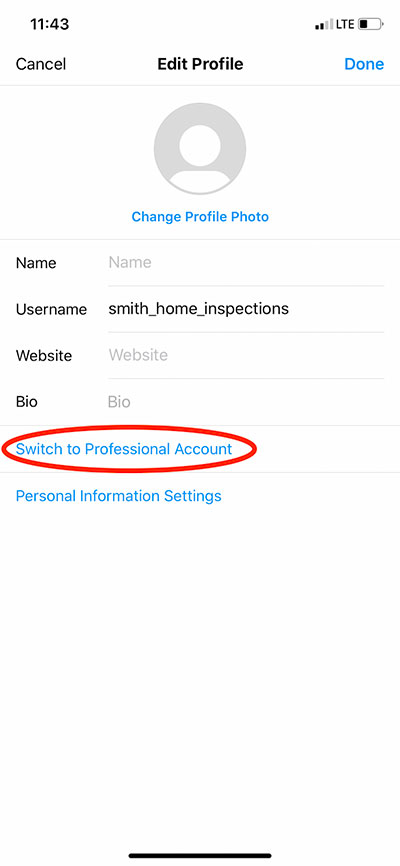Switch to professional account